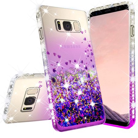 Samsung Galaxy Note 8 Case w/[Temper Glass Screen Protector] Liquid Glitter Phone Case Waterfall Floating Quicksand Bling Sparkle Cute Protective Girls Women Cover for Galaxy Note 8 - (Girly Note)