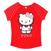 9cecaa664 Hello Kitty Girls Red XOXO Valentine Short Sleeve Tee Shirt T-Shirt