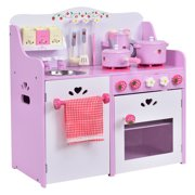be20580fa967 Costway Kids Wooden Play Set Kitchen Toy Strawberry Pretend Cooking Playset  Toddler