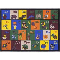 Ottomanson Jenny Educational Alphabet with Pictures Non-Slip Classroom For Kids' Area Rugs