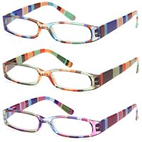 GAMMA RAY READERS 3 Pairs Ladies' Readers Quality Spring Hinge Reading Glasses for Women - 1.00x