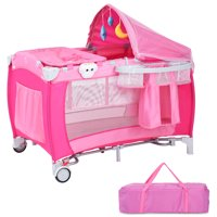 Costway Foldable Baby Crib Playpen Travel Infant Bassinet Bed Mosquito Net Music w Bag