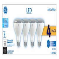 GE LED 10W Soft White, BR30 Indoor Flood Medium Base, Dimmable, 4pk Light Bulbs