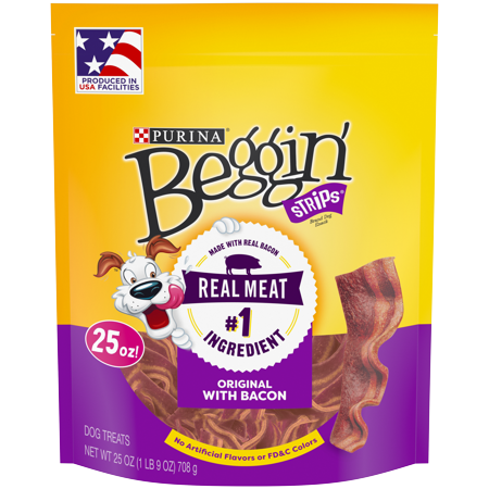 Purina Beggin' Strips Dog Training Treats; Original With Bacon - 25 oz. Pouch (Training Snaffle)