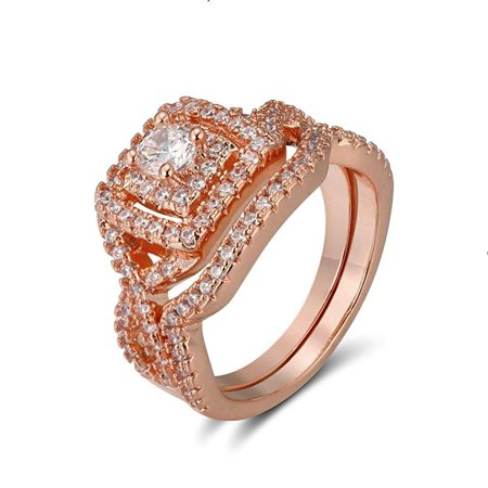 Ginger Lyne Collection Frances Exquisite Halo Pave Rose Gold Plated Wedding Ring Set ()