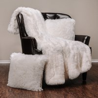 """Chanasya 3-Piece Super Soft Shaggy Throw Blanket Pillow Cover Set - Chic Fuzzy Faux Fur Elegant Cozy Fleece Sherpa Throw (50""""x65"""")& Two Throw Pillow Covers (18""""x 18"""")- For Bed Couch Chair Sofa - White"""