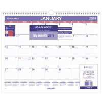 "AT-A-GLANCE® 2019 Monthly Wall Calendar, 12 Months,15"" x 12"" (PM828)"