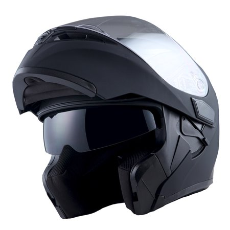 - 1Storm Motorcycle Street Bike Modular Flip up Dual Visor Full Face Helmet Matt Black HB89