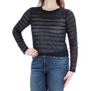 5fc299b53380 BAR III Womens Black Sheer Mesh Long Sleeve Crew Neck Top Size: M