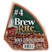 (8 Pack) Brew Rite #4 Cone Coffee Filter, 100 Ct