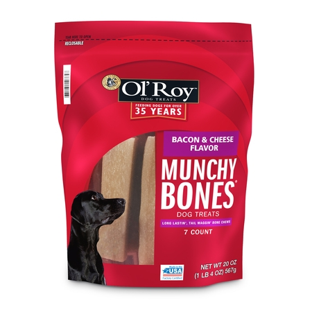 Ol' Roy Munchy Bones Dog Treats, Bacon & Cheese Flavor, 20 oz. (7 Count) (Redhead Bone)