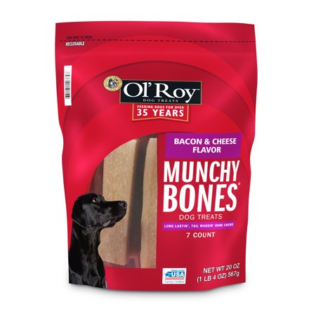 Ol' Roy Munchy Bones Dog Treats, Bacon & Cheese Flavor, 20 oz, 7 Count