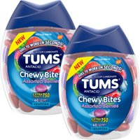 (2 Pack) TUMS Chewy Bites Assorted Berries Antacid, Hard Shell Chews for Heartburn Relief, 60 Antacid Chews