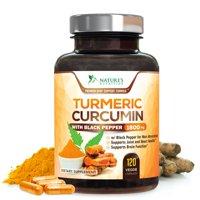 Nature's Nutrition Turmeric Curcumin with Bioperine Black Pepper Capsules, 1800mg, 120 ct