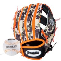 "Franklin Sports 9.5"" RTP Teeball Performance Glove and Ball Combo Black/Orange, Right-Hand Throw"