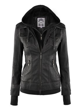 Product Image MBJ WJC664 Womens Faux Leather Jacket with Hoodie M BLACK Made by Johnny Coats \u0026 Jackets - Walmart.com