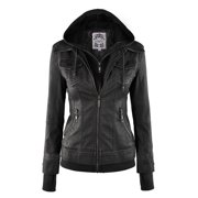 c6274950c611 MBJ WJC664 Womens Faux Leather Jacket with Hoodie M BLACK