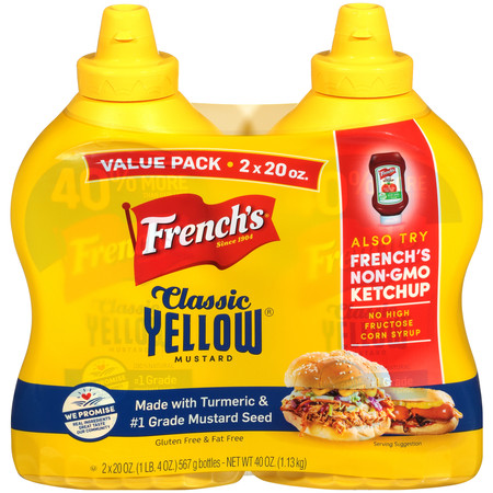 (4 Pack) 20 Oz French's Yellow Mustard