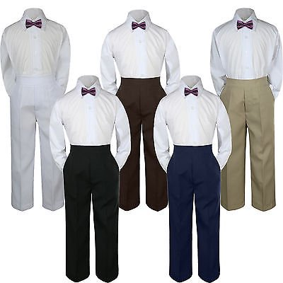 Baby Eggplants (3pc Eggplant Plum Bow Tie Suit Shirt Pants Set Baby Boy Toddler Kid Uniform)
