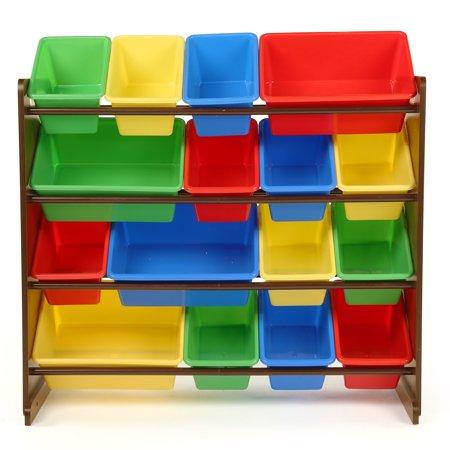 Tot Tutors Dark Walnut/Primary Super-Sized Kids Toy Storage Organizer w/ 16 Plastic Bins, Discover Collection