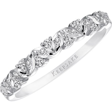Vx11000 Diamond (Sweet Remembrance 1/10 Carat T.W. Certified Diamond 10kt White Gold Anniversary Band)