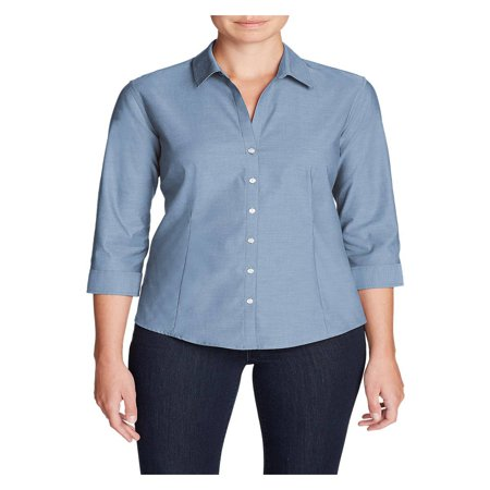 Eddie Bauer Women's Wrinkle-Free 3/4-Sleeve Shirt - - Wrinkle Free Woven Shirt