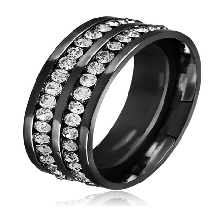 Men's Double Eternity Crystal Black IP Stainless Steel Comfort Fit Ring (8mm)