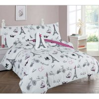 Empire Home Pink / White Paris Full Size Kids Comforter Set - Includes Toy!
