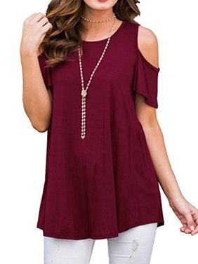 JustVH Women's Cold Shoulder Short Sleeve Casual Tunic Tops Plus Size Loose Blouse Shirts
