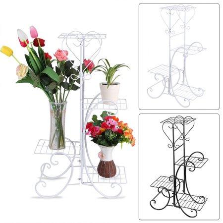 4 Tier Decorative Metal Flower Pot Plant Stand Display Shelf Indoor Outdoor Garden Patio White