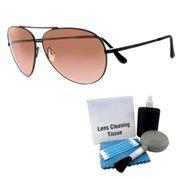 f2a8abc5fe726 Large Photochromic Aviator Matte Black Frame Sunglasses + Enhanced Lens  Cleaning Kit