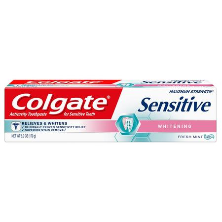 Colgate Sensitive Toothpaste, Whitening - Fresh Mint Gel Formula (6 ounce, Pack of 1) Colgate Sensitive Whitening Toothpaste