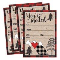 25 Woodland Party Invitations, Winter Bridal or Baby Shower Invite, Holiday Snowflake Birthday Invitation Wedding Rehearsal Dinner Invites, Bachelorette Reception Anniversary, Housewarming