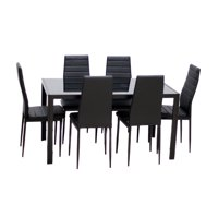 IDS Home 5 Piece Dining Set Glass Top Table & 4 Upholstered Chairs Kitchen Room Furniture, Black