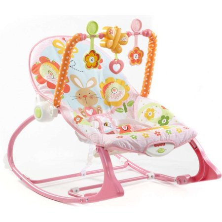 Infant Newborn Rocking Chair - Fisher-Price Infant-To-Toddler Rocker, Pink Bunny with Removable Bar