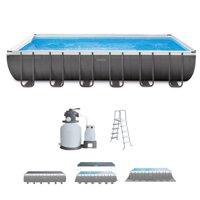 "Intex 24' x 12' x 52"" Ultra Frame Rectangular Above Ground Swimming Pool Set"
