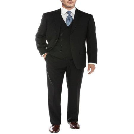 Salvatore Exte Men's Vested Suit 3 Piece 2 Button Blazer Vest Flat Front Pants Black 3 Piece Argyle Vest