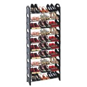 50-Pair Shoe Rack Storage Organizer, 10-Tier Portable Wardrobe Closet Bench Tower Stackable, Adjustable Shelf - Strong Sturdy Space Saver Wont Weaken or Collapse - Black by OxGord