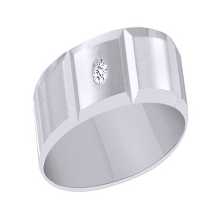 White Natural Diamond Solitaire Wedding Band Ring In 10k White Gold ()