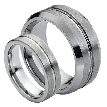 His & Her's 8MM/6MM Brushed Center With Grooved Cut Tungsten Carbide Wedding Band Ring Set , Ladies Size 6.5 - Mens Size 10 Cut Brushed Wedding Ring