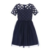 be0e0757 Sweet Kids Little Girls Navy Cross Hatch Satin Mesh Occasion Dress 2T-6