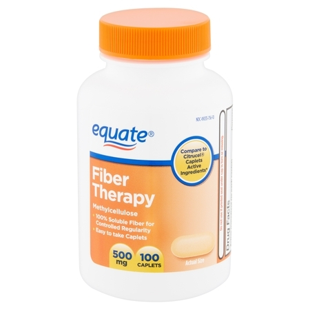 Equate Fiber Therapy Methylcellulose Caplets, 500 mg, 100 (100% Coir Fiber)
