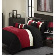 11 Piece Oversized Red Black Comforter Set Queen Size Bedding With Sheet Included