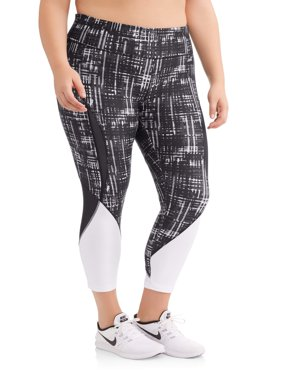 Women's Plus Size Active Performance 25 Length Printed Crop with Mesh Inserts