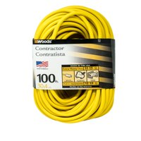 Woods 992555 12/3 SJTW High Visibility Extension Cord with Lighted Ends, 100-Foot, Yellow
