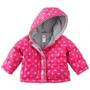 ea6d83f8 Carters Infant Baby Girls Pink Dot Hooded Ski Jacket Quilted Puffer Coat