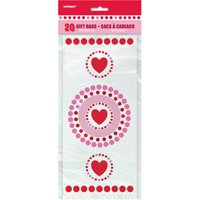 Radiant Hearts Valentine Cellophane Bags, 20-Count