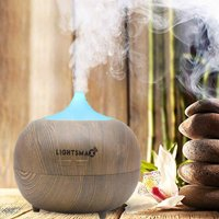 LIGHTSMAX Essential Oil Diffuser, 300ml Ultrasonic Cool Mist Humidifier Portable Aroma Diffuser, 7 Color LED Lights and Waterless Auto Shut-Off for Home Office Bedroom (Light Grain)