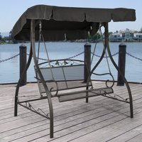 Mainstays Jefferson Wrought Iron 2-Person Outdoor Canopy Porch Swing