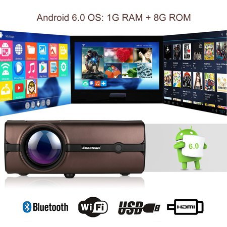 Excelvan BL46 (BL45 Upgraded with Android System and WIFI) Android 6.0 Multimedia LCD Projector 1G RAM 8G ROM Support Bluetooth 4.0 1080P Wireless Home Theater With USB VGA SD HDMI